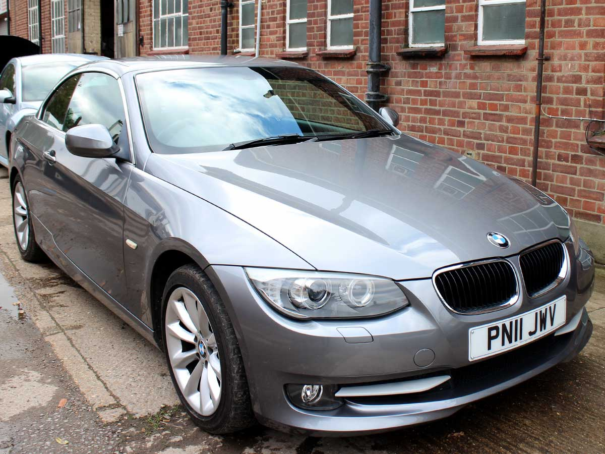 2011 BMW 320i Convertible Grey Manual 6 Speed Black Leather Great Spec 34,000 miles FSH PN11JWV