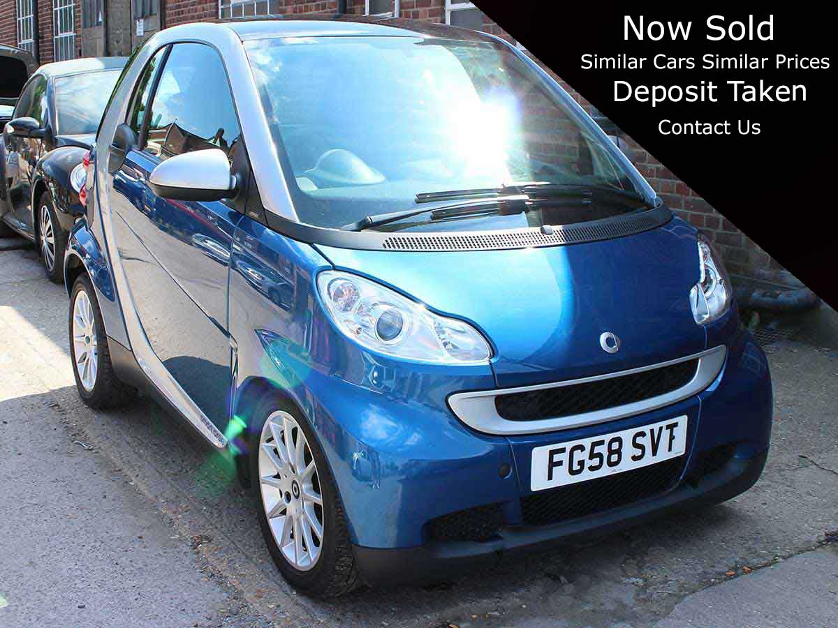 2008 Smart Fortwo 1.0 Passion Coupe 2dr Petrol Blue Silver Automatic 84bhp 44,000 miles FG58SVT