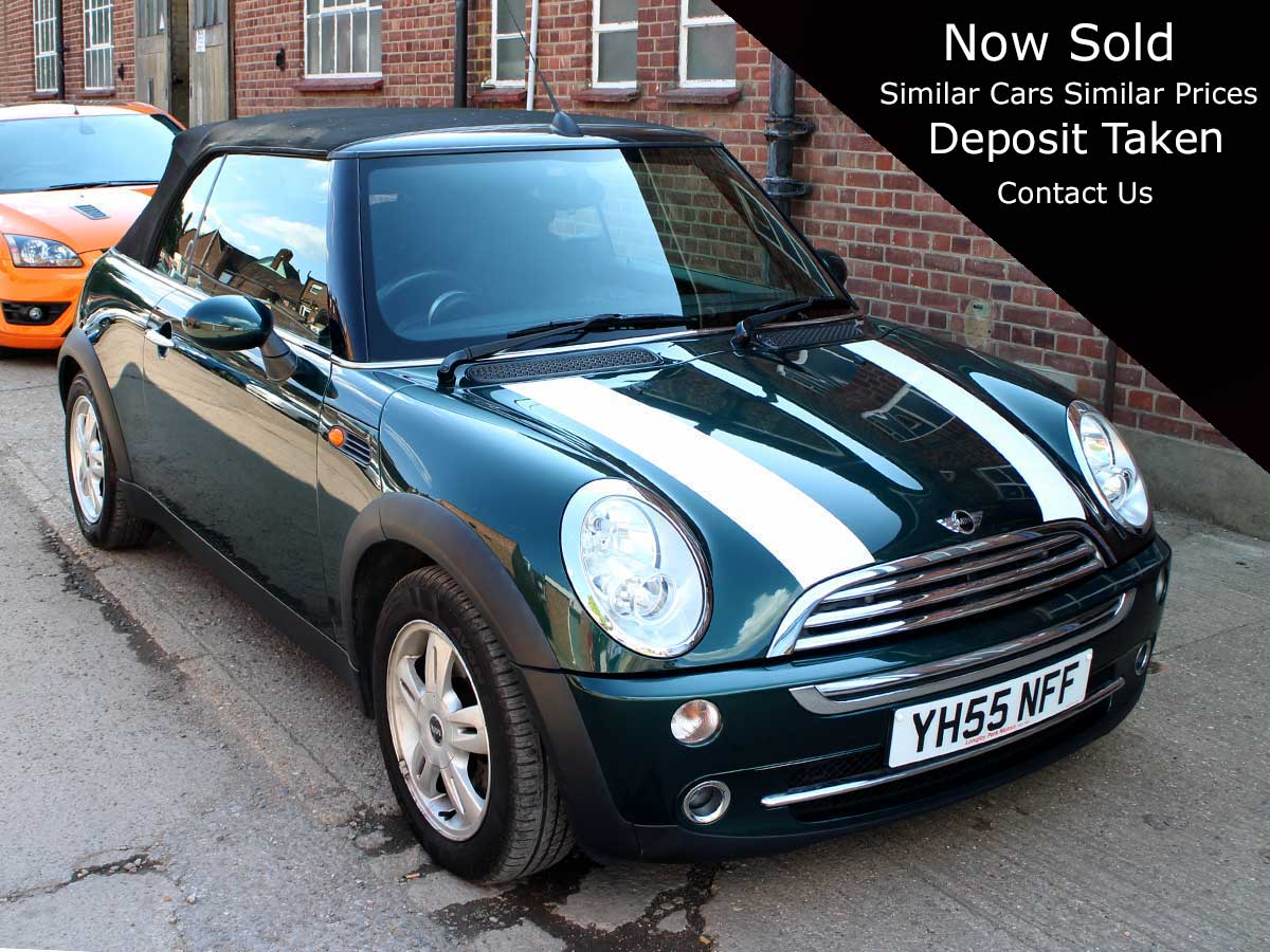 2005 Mini Cooper Auto Petrol Green 2dr Convertible Pepper Pack 63,000 Miles YH55NFF